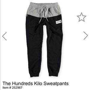 Black and gray hundreds sweatpants